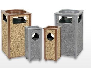 Stone Panel Ash Trash Receptacles