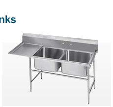 Freestanding 2-Basin Sinks