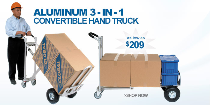 Best Value Aluminum 3-in-1 Convertible Hand Truck with Pneumatic Wheels - as low as $209