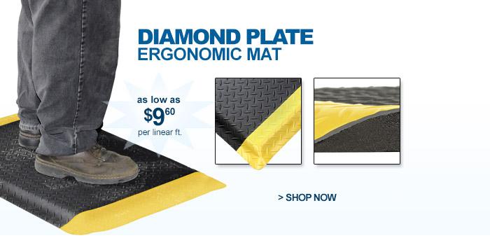 Diamond Plate Ergonomic Mat - as low as $9.60 per linear ft