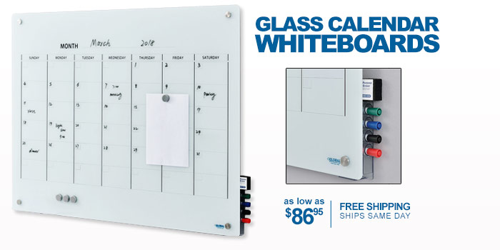 Glass Calendar Whiteboards - as low as $86.95