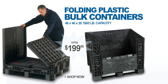Folding, plastic bulk containers - only $199.95