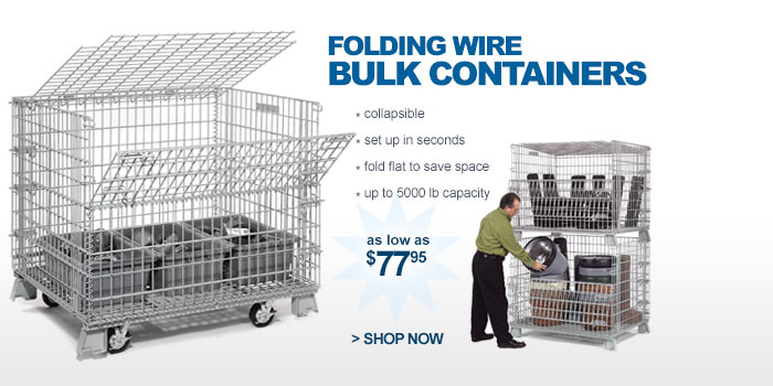 Folding Wire Bulk Containers - as low as $77.95