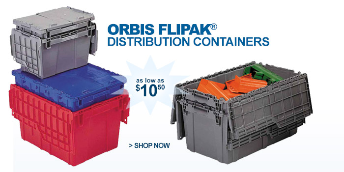 Orbis Flipak® Attached Lid Distribution Containers - as low as $10.50