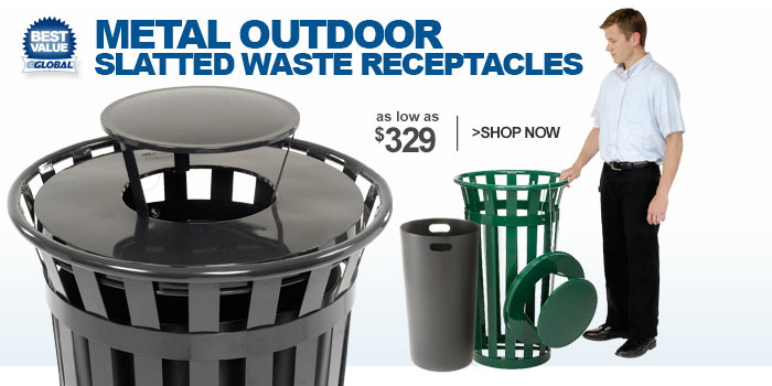 Global™ Outdoor Metal Slatted Waste Receptacles - as low as $329