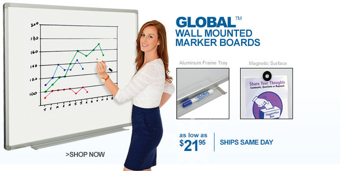 Global™ Wall Mounted Marker Boards - as low as $21.95