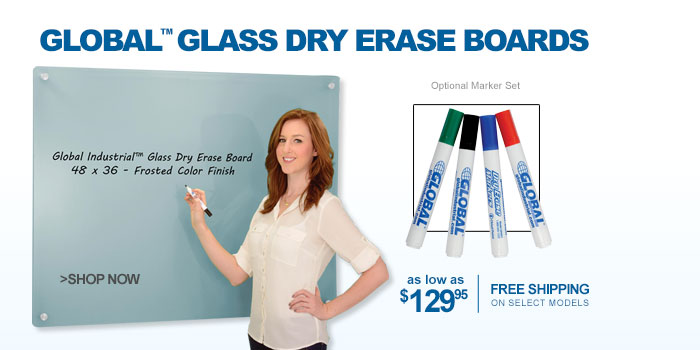 Global™ Glass Dry Erase Boards - as low as $129.95