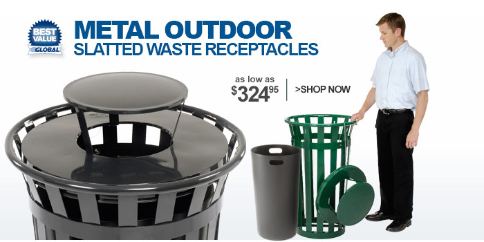 Metal Outdoor Slatted Waste Receptacles - as low as $324.95