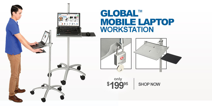 Mobile Height-Adjustable Anti-theft Laptop Workstation Security Cart - only $199.95