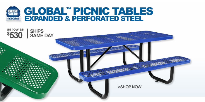 Global™ Picnic Tables Expanded & Perforated Steel - as low as $530
