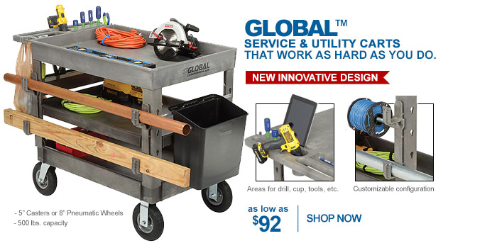 Global™ Service & Utility Carts - as low as $92