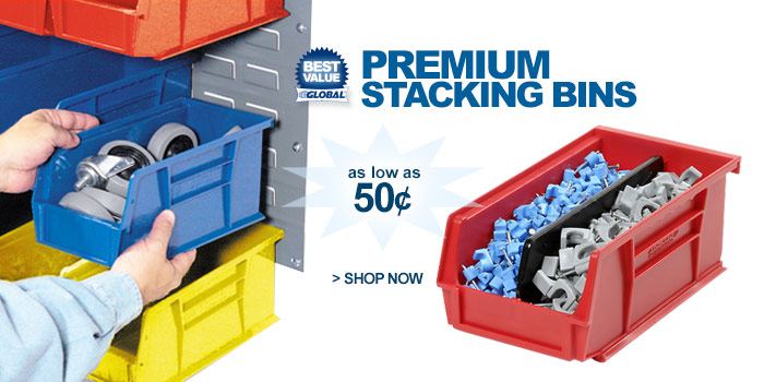 Premium Plastic Stack & Hang Parts Bins - as low as 50¢