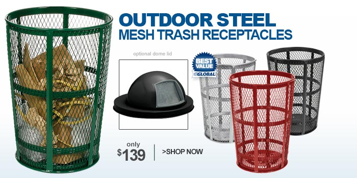 Outdoor Steel Mesh Trash Receptacles - only $139