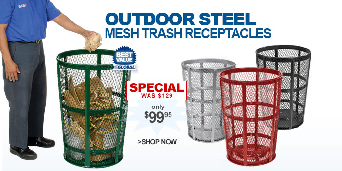 Outdoor Steel Mesh Trash Receptacles - only $99.95