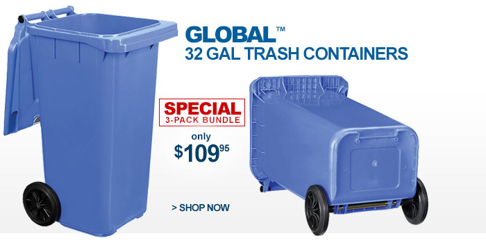 Global™ Mobile Trash Container with Lid 32 Gallon 3 Pack - only $109.95