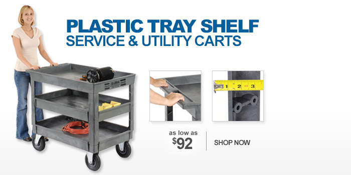 Plastic Tray Shelf Service & Utility Carts - as low as $92